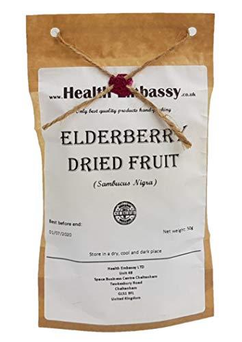 Holunderbeeren Getrocknet (Sambucus nigra) 50g / Elderberry Dried Fruit 50g - Health Embassy - 100{163347e1c4317f37eb6c0286872d1589005c040f75a843ba59e32c148c71b02c} Natural