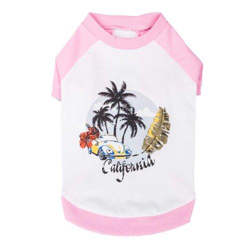 Blueberry Pet 30cm Rückenlänge Hundebekleidung Polo T-Shirt Kleid Hemd Kalifornien Sommer Baumwolle Hundeshirt in Pink, M (Santa Zoey)