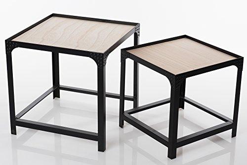 Satztisch Beistelltisch H090 Holz / Metall Couchtisch Tischset Tisch