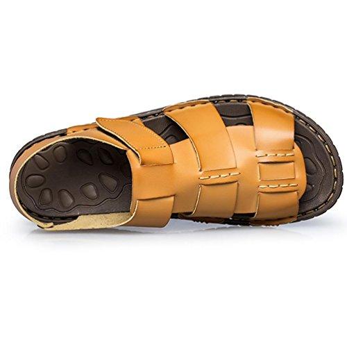 SHANGXIAN Uomo estate Superfiber pelle infradito sandali Casual Beige