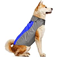Iseen Dog Raincoat Waterproof Windproof Dog Coat Jacket Reflective Pet Vest with Soft Fleece Lining Cold Weather Dog Apparel Clothing for Small Medium Large Dogs (S, Blue)