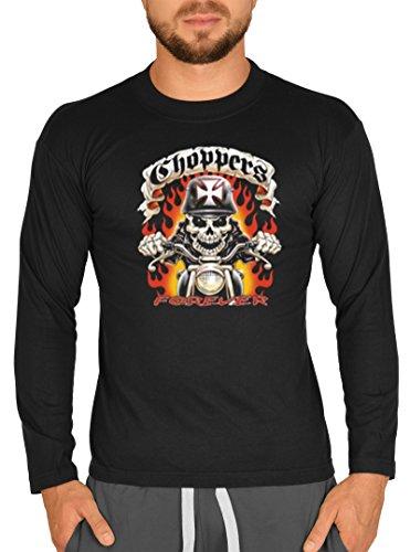 Langarm T-Shirt USA Biker Motiv Choppers Forever Bike Langarmshirt für Biker Rock Longshirt für Herren Männershirt Laiberl Leiberl Schwarz