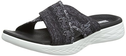 Skechers Damen on-The-Go 600-Monarch Plateau Sandalen, Schwarz (Black/White), 38 EU (Skechers On The Go)