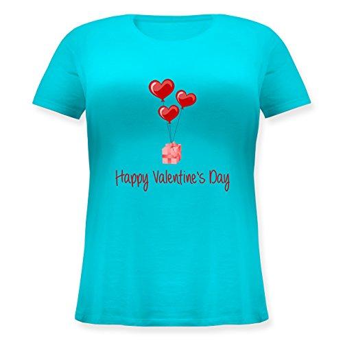 Valentinstag - Happy Valentine's Day Geschenk Herz Luftballon - Lockeres Damen-Shirt in großen Größen mit Rundhalsausschnitt Türkis