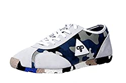 Provogue Mens White Grey Canvas Sneakers - 8 UK