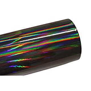 Finest Folia (19,73€/m²) Laser Hologram Chrom Schwarz Auto Folie mit Luftkanäle Holographic (50 x 152cm)