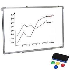 Yorbay Seelux Magnetisches Whiteboard 50x70 cm, inkl.Tafellöscher und 4 Magnete für Wohnung und Büro