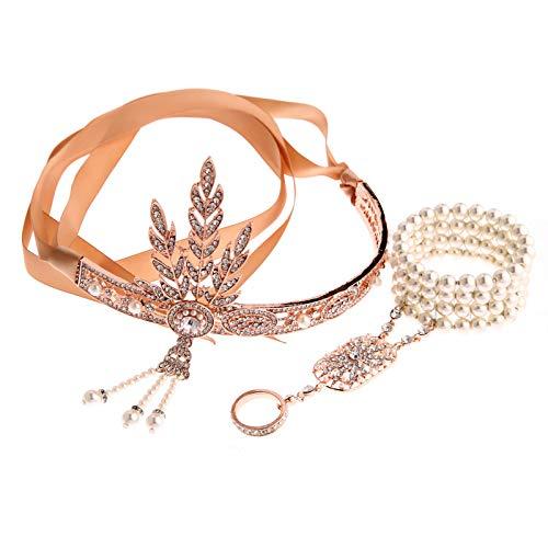 AmDxD Damen 20er Jahre Zubehörset Flapper Kostüm-Set Zirkonia Perle Blatt Stirnband, Perlenarmband Ringe 1920er Jahre Halloween Kostümzubehör Rose Gold (1920 Paare Kostüm)