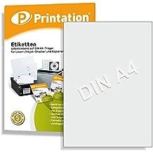 Universal Etiketten 100 Stück 210 x 297 mm weiß selbstklebend bedruckbar - 100 DIN A4 Bogen à 1x1 210x297 Labels - 3478 6119 4631