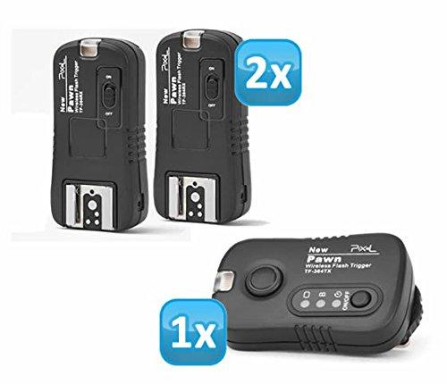 Pixel Pawn TF-364 Funk Blitzausloeser Set mit 2 Empfaengern bis 100m fuer Panasonic, Leica und Olympus Blitzgeraete – Funkausloeser Kamera- und Blitz