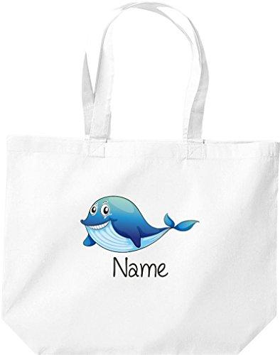 große Einkaufstasche, mit süßen Motiven inkl. Ihrem Wunschnamen Delfin, Weiß
