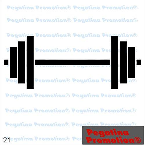 Hantel-aufkleber (Piktogramm Typ 21 Icon Symbol Zeichen Hantel Gewicht Bodybuilding Training Fitnessstudio Workout Aufkleber ca.15cm von Pegatina Promotion® Aufkleber mit Verklebehilfe von Pegatina Promotion® ohne Hintergrund geplottet)