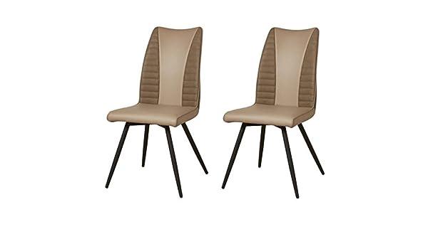 Simili et tissu taupe Contemporain ROUVENE Lot de 2 chaises de salle a manger en m/étal L 45 x P 43 cm AUCUNE