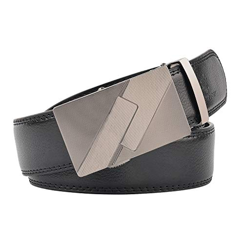 KEYNAT Men's Belt Leather - Automatic Leather Belts With Silver-plated Buckle (style-29)