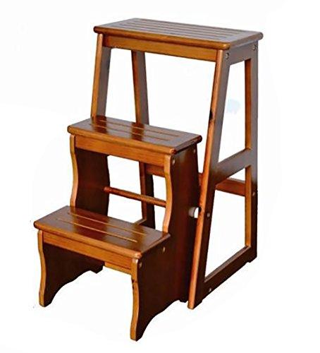 WUDENG Escabeau en bois 3 étapes pliant chaise pliante en bois massif 2 couleurs, 38.5x20x64.5cm (Couleur : Light walnut)