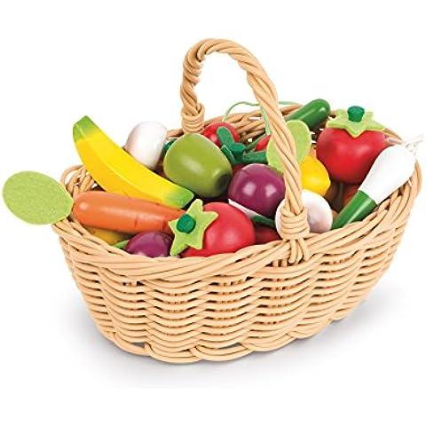 Janod - Cesta de 24 frutas y verduras (Juratoys J05620)