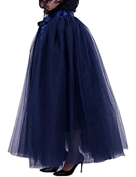 LINNUO Falda de Tul Larga de Mujer Plisada Cintura Alta Elegante Maxifalda Con Lazo