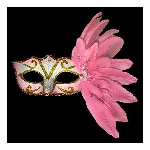 SCLMJ Halloween-Partei-Masken-Seiten-Mit Federn Versehene Perlen-Dekorations-Halbe Gesichtsmaske Für Maskerade-Partei, Rosa