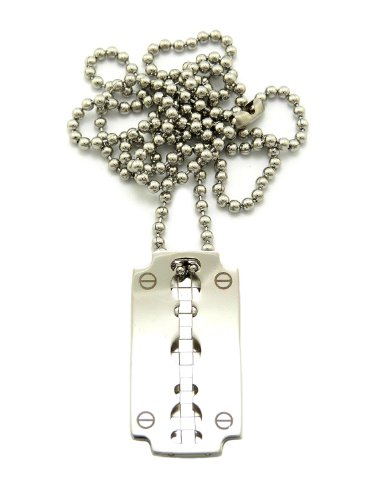 Silber Rasierer Charm mit 2mm 61cm Halskette
