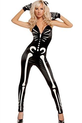 Fortuning's JDS Frauen Knochen gedruckt V-Ausschnitt Overall Skelett Halloween (Halloween Engel Halb Kostüme Teufel Halb)