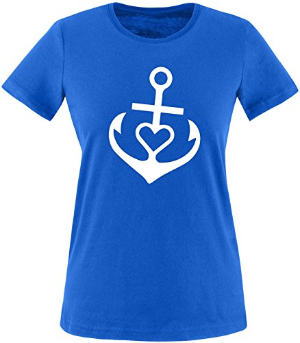 EZYshirt® Anker mit Herz Damen Rundhals T-Shirt Royal/Weiss