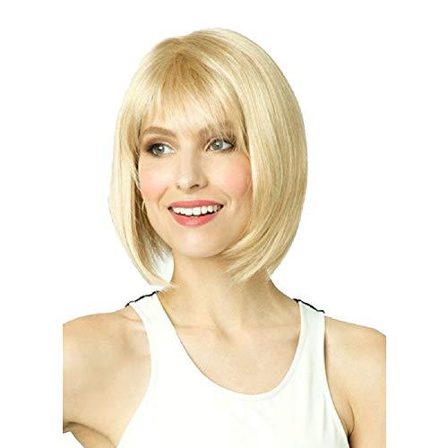 Mid-Point Damen BOBO Short Perücken Pale Gold Short Straight Hair Perücken für weiße Frauen