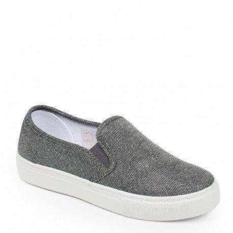 Ideal Shoes Samira–scarpe slip-on effetto glitter , grigio (grigio), 37