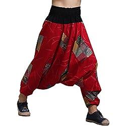 MAFANBUYI - Pantalones Bombachos Hombre Mujer Unisex para Yoga Cómodo Pantalón Ancho Harem Cagados con Entrepierna Talla Única Casual - Rojo