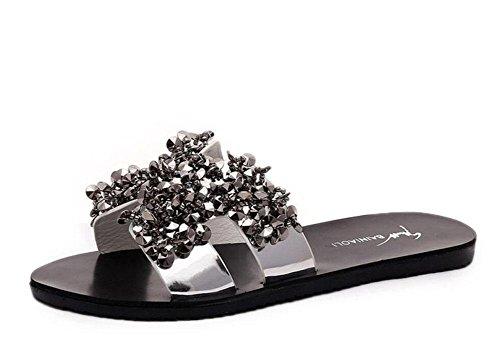 Un frizzante sandali piatti di moda a forma di diamante e pantofole coreano sandali femminili Silver