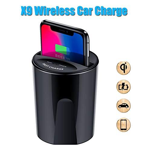X9 10W / 7.5W / 5W Qi-zertifizierter kabelloser Autoladegeräthalter für das iPhone 8 X Samsung S8 Note 8 - Schwarz -