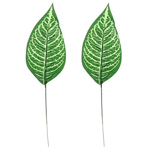 oulii 2 Kunstpflanze einzelnes Blatt Zebra LEAF Fake Leaf Stem Home Kitchen Party Dekorationen (Einzelnes Zebra-blatt)