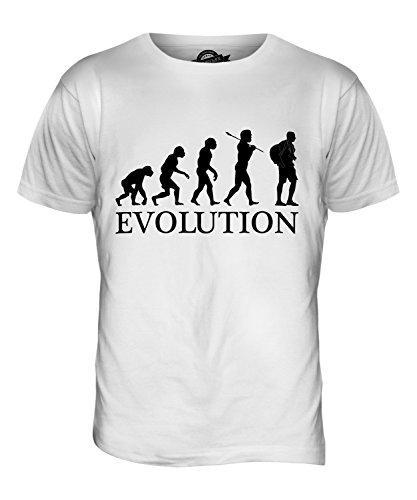 CandyMix Turista Evoluzione Umana T-Shirt da Uomo Maglietta Bianco