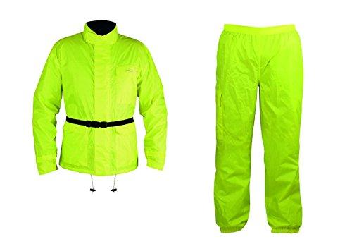 A-pro giacca impermeabile e pantaloni tuta abbinati, alta visibilità fluo, xl
