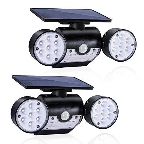Solarleuchte für Außen (2 Stück), GIANTARM LED Solarlampen für Außen mit Bewegungsmelder, Solar IP65 Wasserdicht Wandleuchte Aussenlampen, 360° Drehbar Dual Lichtkopf für Garage.
