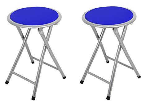 La Silla Española Palma Pack de Taburetes Plegables Acolchados, Aluminio, Azul, 30x30x45 cm, 2 Unidades