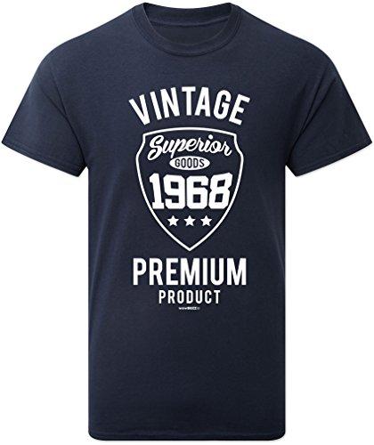 50. Geburtstags-Geschenk Vintage Premium 1968 T-Shirt für Männer in Marine-Blau Navy 1968