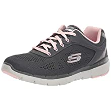 Skechers Women's Flex Appeal 3.0-Moving Fast Trainers, Grey (Charcoal Mesh/Duraleather/Pink Trim Ccpk), 4 (37 EU)