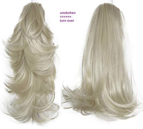 PRETTYSHOP 2 IN 1 Haarteil Pferdeschwanz Zopf Haarverlängerung Haarverdichtung ca 40cm und 50 cm platinblond #613 H305