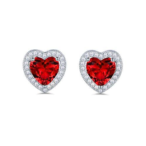 Masop, orecchini a bottone a forma di cuore, adorabili orecchini argentati swarovski element con diossido di zirconio rosso