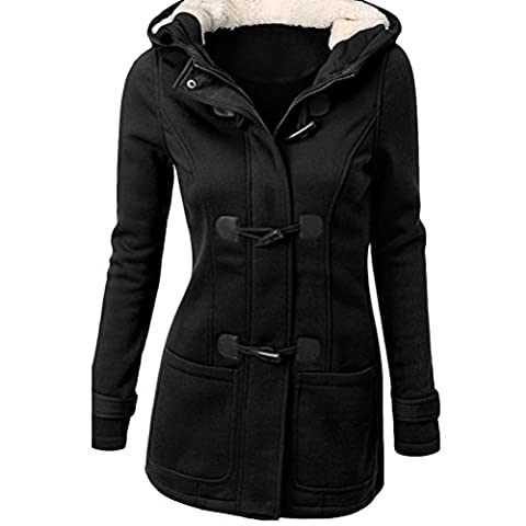 Zhhlaixing Hot ventes Plus Size Cotton Coat Long Hooded Wool Blended Horns Buckle Winter Jacket for Women