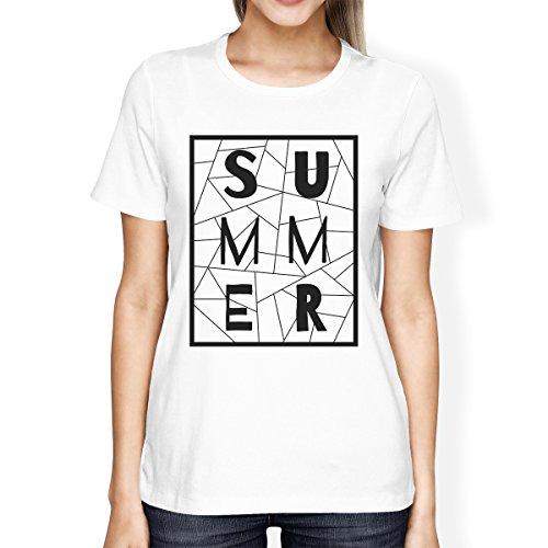 365 Printing - T-Shirt - Manches Courtes - Femme Summer Geometric White Shirt