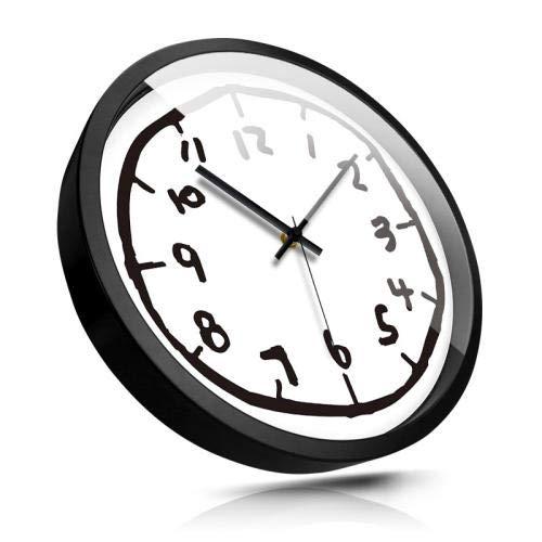 NIGHT WALL Non-Ticking Dekorative Wanduhr, Wanduhr, Silent Non-Ticking Besonders leise für Kinder, 14-Zoll-C-Silberrahmen für Büro/Küche/Klassenzimmer/Kinderzimmer Leicht zu lesen