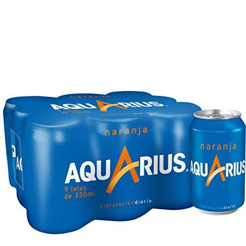 Aquarius - Naranja, Bebida para deportistas, refresco sin gas, 330 ml (Pack de 9), Lata