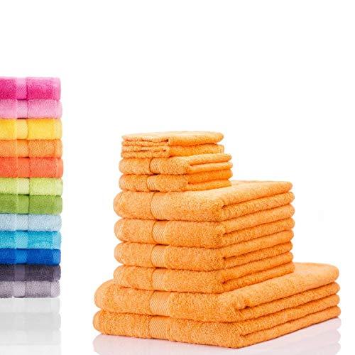 etérea Carli 10 TLG. Handtuchset, 4X Handtücher, 2X Duschtücher, 2X Gästetücher, 2X Waschhandschuhe - Safran|Qualitäts Frottierware 500 g/m² 100% Baumwolle -