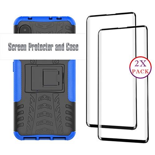 KISCO für Samsung Galaxy A8s Hülle und 2 Pack Panzerglas Schutzfolie,Stoßfest Hybrid PC und TPU Cover mit Kickstand Schutzhülle für Samsung Galaxy A8s-Blau