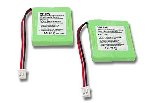 vhbw 2X NiMH Batteries 600mAh (2.4V) pour Smartphone Samsung SP-R6100, SP-R6150, SPR-6100, SPR-6150 comme 82H, BC102168.