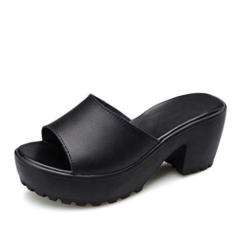 sandales à talons hauts en été/fashion femmes pantoufle/Un mot pantoufle/sandale plate-forme imperméable à l'eau/Chunky talons chaussures femme B