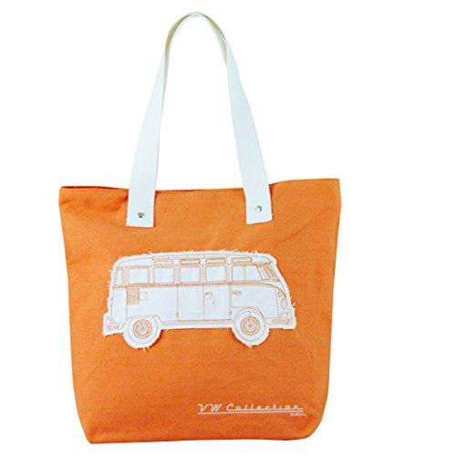 VW - Borsa per la spesa in tela, motivo: Camper, per donna, rosso Arancione - arancione