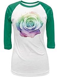 Rainbow Rose White/Kelly Green Juniors 3/4 Raglan T-Shirt