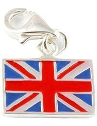 Plata de ley de bandera británica/Union Jack Clip en encanto